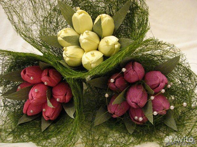 Букеты из тюльпанов фото своими руками