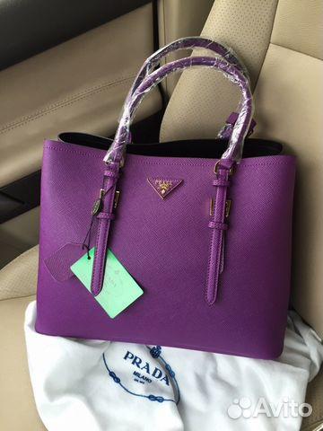 2e6e92bdfd81 Женская кожаная сумка Prada Double Bag фиолетовая купить в Москве на ...