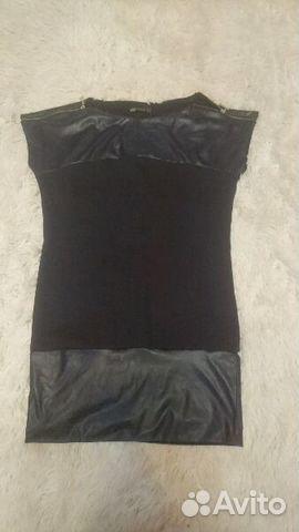 Платье с кожанными вставками 89118550192 купить 1