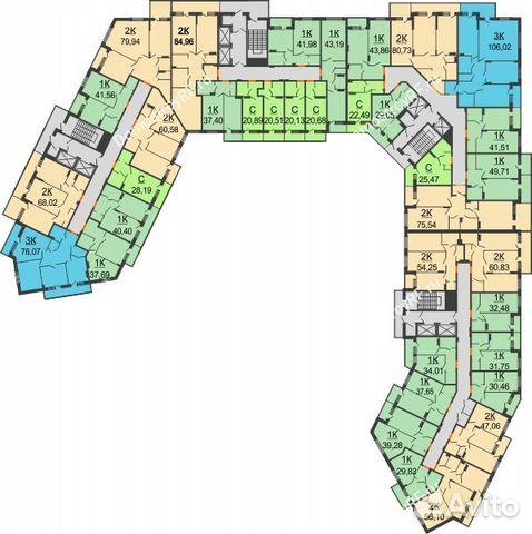 2-к квартира, 60.8 м², 3/17 эт. 89529548415 купить 2