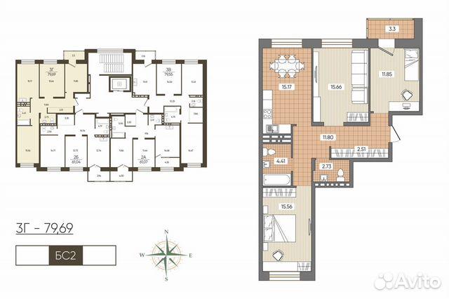 3-к квартира, 79.7 м², 3/10 эт. купить 1