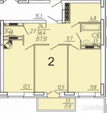2-к квартира, 58 м², 4/7 эт. 89210699030 купить 2