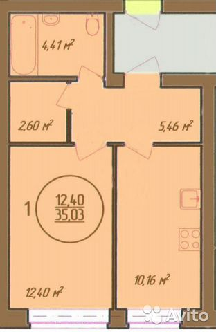 1-к квартира, 35 м², 3/3 эт.  купить 4