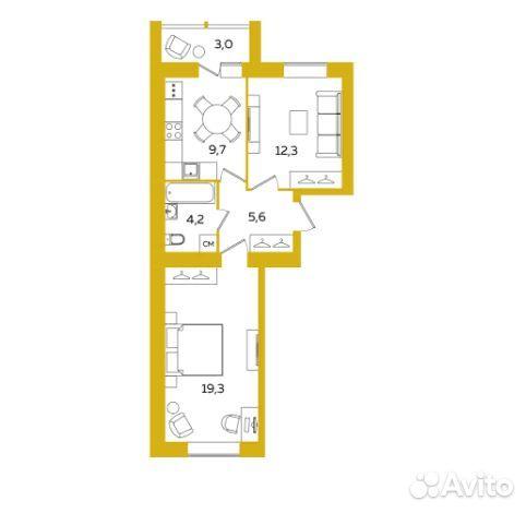 2-к квартира, 52.6 м², 3/8 эт.