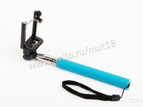 Монопод палка для селфи с кабелем цвет голубой